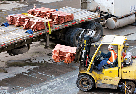 Chino Grade AA copper cathode is loaded onto a truck headed for Freeport-McMoRan's rod mill in El Paso, Texas