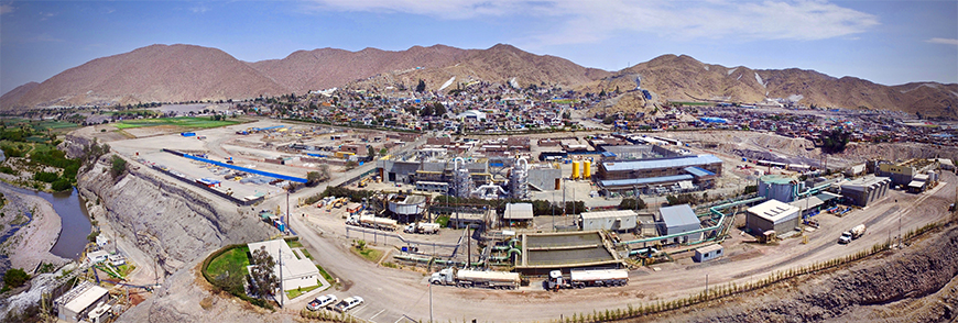Utilizing its formal grievance system, Cerro Verde has successfully worked with community members, including within the Uchumayo District (background), to address 146 complaints regarding noise and vibrations from pumping stations (center). The stations are an integral component of the Arequipa Region's first ever wastewater treatment system which is designed to treat 90 percent of Arequipa's domestic and industrial wastewater. Grievance remedies ranged from home relocations to replacement of windows.
